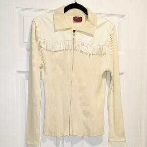 GRAND OLE OPRY cream leather vegan jacket